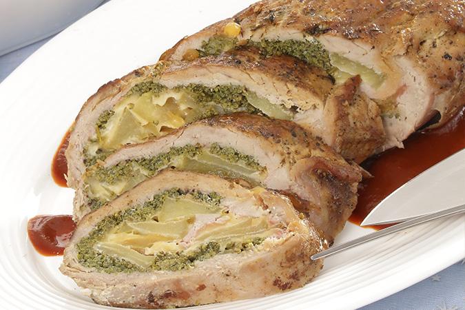 Rollo de Filete de Cerdo con Manzana y Huauzontle