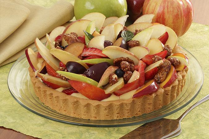 Tarta Fría de Manzana, Cacahuates y Nueces Garapiñados